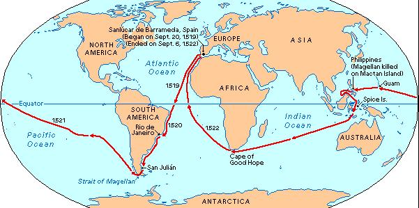 première circumnavigation de l'histoire - carte du monde